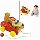 Itian 可愛い車 木製のおもちゃ 立体 太鼓をたたく 引っ張り 動きを楽しむ ポコポコくまさん 車型 誕生日のプレゼント 知育玩具