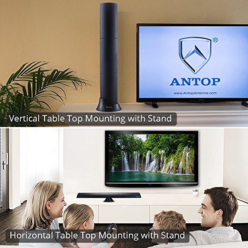 ANTOP HDTV Antenna 65 Miles Digital Indoor with 10ft Coaxial Cable, Multi-Directional Built-in 4G LTE