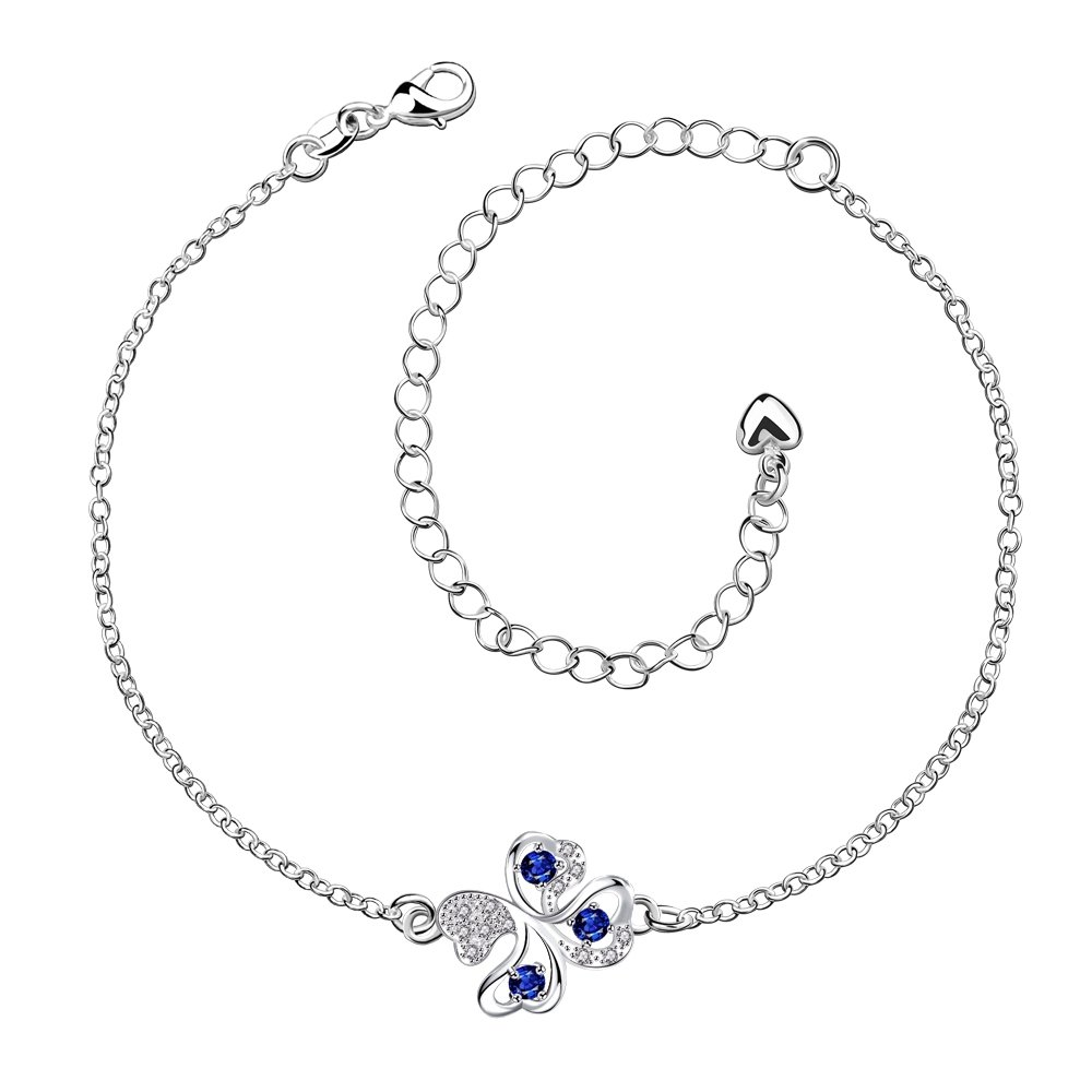 GYAYA Zircon Silver Plated Anklets for Heart Shaped Lucky Clover Flowers (Clover)