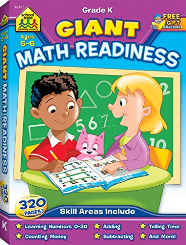 School Zone - Giant Math Readiness - Ages 5 and 6, Kindergarten, Numbers 0-20, Counting, Shapes, Patterns, Money and Time