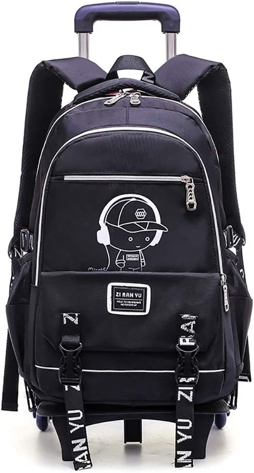 Zhao Xiemao Kids Schoolbag Junior High School Student Trolley Bag Six Rounds Climbing Stairs Boy Primary School Backpack Dual-use Waterproof Rolling School Bag Color : 2, Size : Free Size