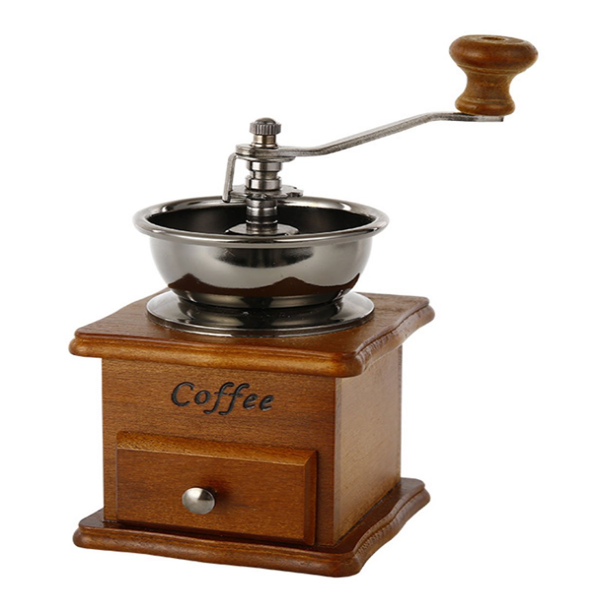 AMOAR-PERFREE Manual Coffee Grinder AGrinder Spice Herbs Vintage Style Wooden Retro Burr Mill - Manual Grinding Bean Machine,Small