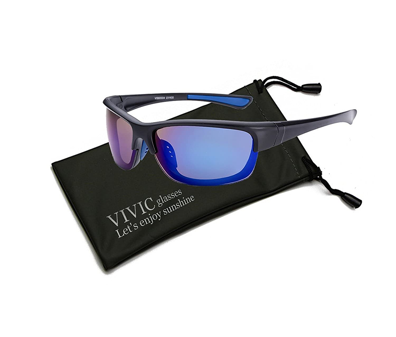 054085bb7be Amazon.com  Sport Sunglasses Polarized for Men Lightweight UV400 VIVIC  (Blue)  Clothing