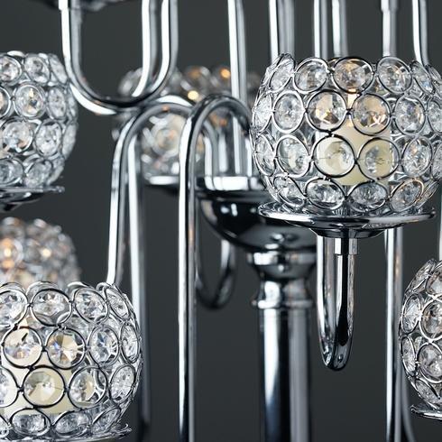 Efavormart 39.5'' Silver Crystal Beaded 13 Arm Candelabra Chandelier Votive Candle Holder Wedding Centerpiece by Efavormart.com (Image #8)