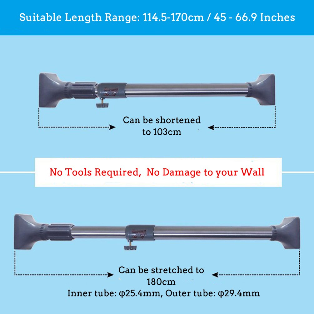 BAOYOUNI 25.4mm Adjustable Shower Curtain Rod Tension Rail for Bathroom Wardrobe Kitchen Balcony Grey, 16-23 Inches