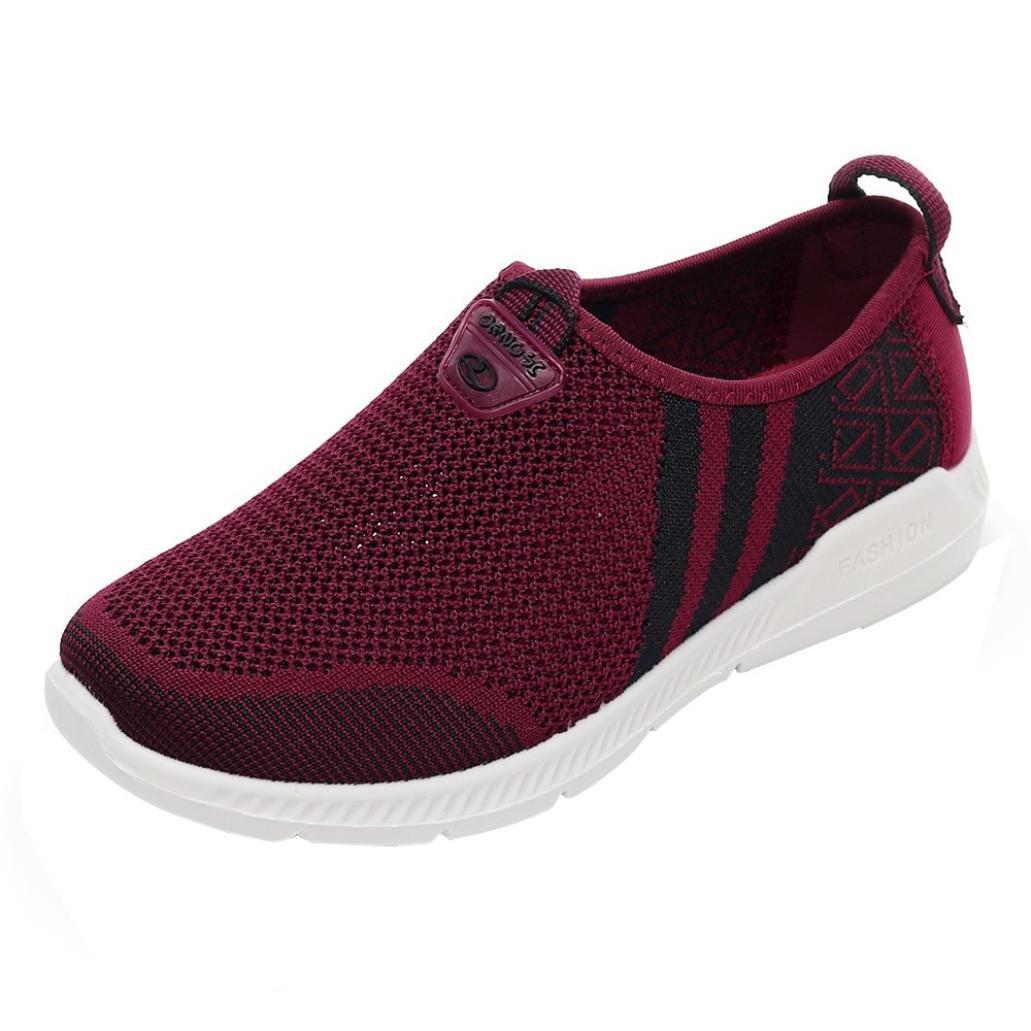 AutumnFall_Women Shoes Women's Net Shoes Flat Heel Breathable Hole Mesh Non-slip Lightweight Sports Shoes  (US:5, Red) by AutumnFall_Women Shoes