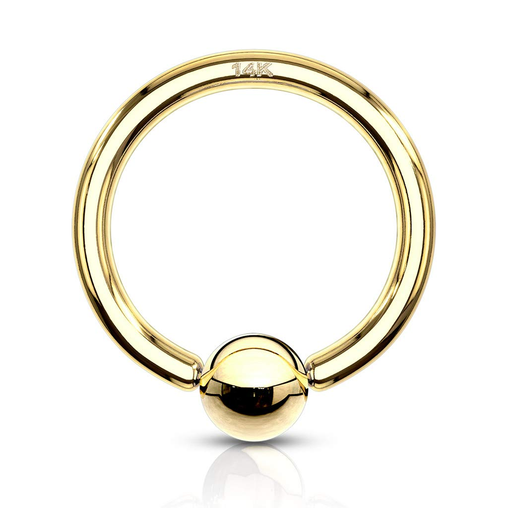 16 Gauge 5/16 Inch 3mm Bead 14K Solid Gold Captive Bead Ring Hoop CBR Body Jewelry C96
