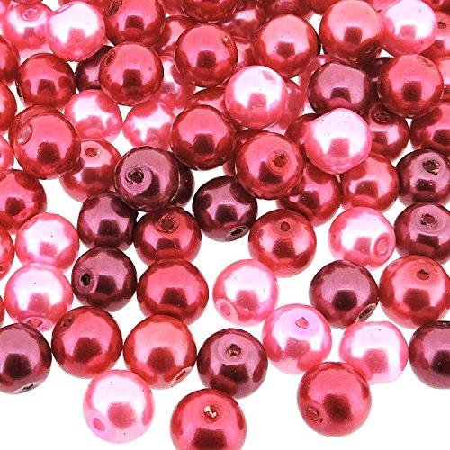 (Beads Direct USA's Small Round Glass Pearls 6mm Beads Mix, 200pcs -Pink Fusion Mix (mix of pinks))