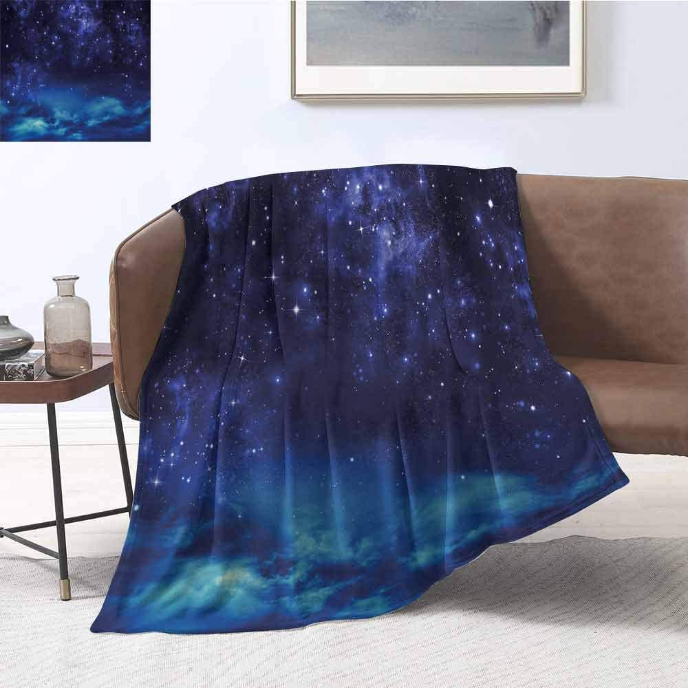 Luoiaax Night Sky Bedding Microfiber Blanket Deep Outer Space Nebula Starry Milky Way Stars Clouds Foggy Artwork Super Soft and Comfortable Luxury Bed Blanket W80 x L60 Inch Dark Blue and Light Blue