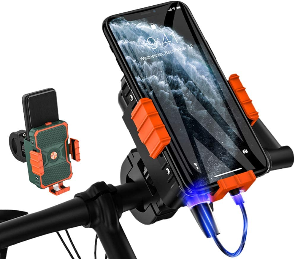Solid Aluminum Cell Phone Holder for MTB ATV Scooter,Anti Shake Metal Phone Mount Fits Phone up to 3.7 Wide Upgraded Bike Motorcycle Phone Mount Black