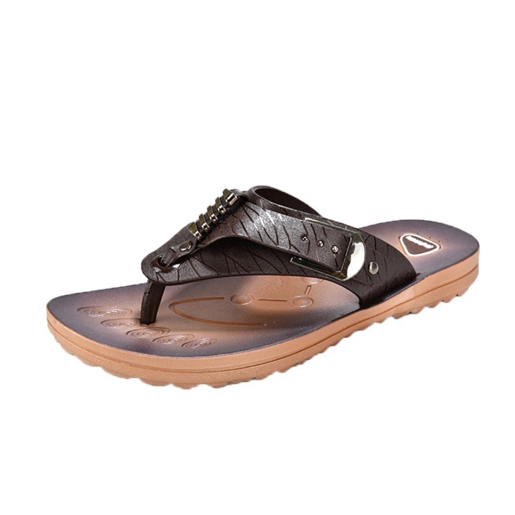 yjydada flip-flops、男性スリッパビーチ靴フリップフロップ夏フラットスライドFootwearソフトサンダル靴 B07CZ17V91  ブラウン 44