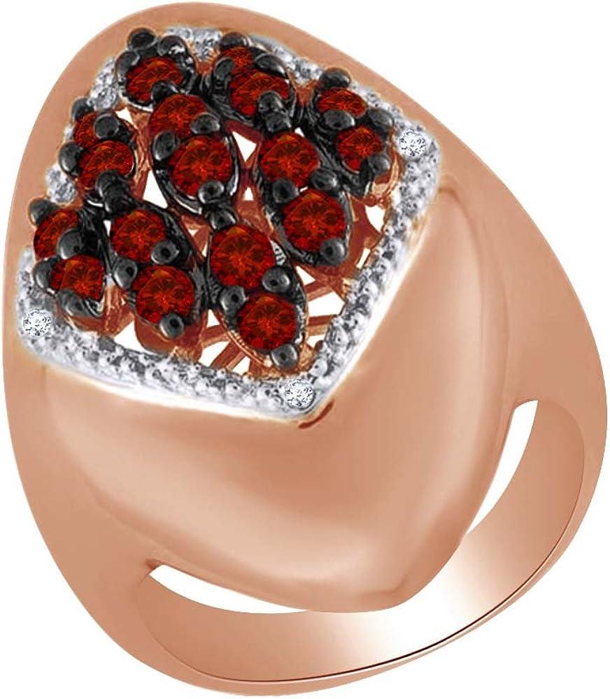 Mothers Day Garnet Cluster Wedding Ring 14K White Gold Over Sterling Silver 925
