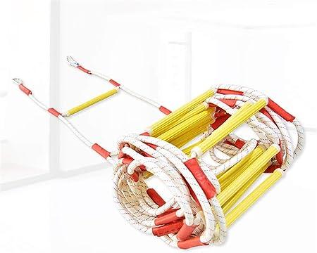 JHKGY Escalera De Cuerda De Escape De Fuego -Escalera De Evacuación De Seguridad contra Incendios De Emergencia Resistente A Las Llamas con Mosquetones De Gancho para Niños Y Adultos,10m: Amazon.es: Hogar