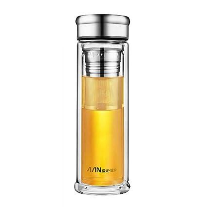 SLOSH Botella Agua Cristal Té Vidrio Infusor Filtro sin Bpa Viaje Teteras Émbolo Té PortátilTraval Mug Cristal Tea Bottle Detox(0,4 L)