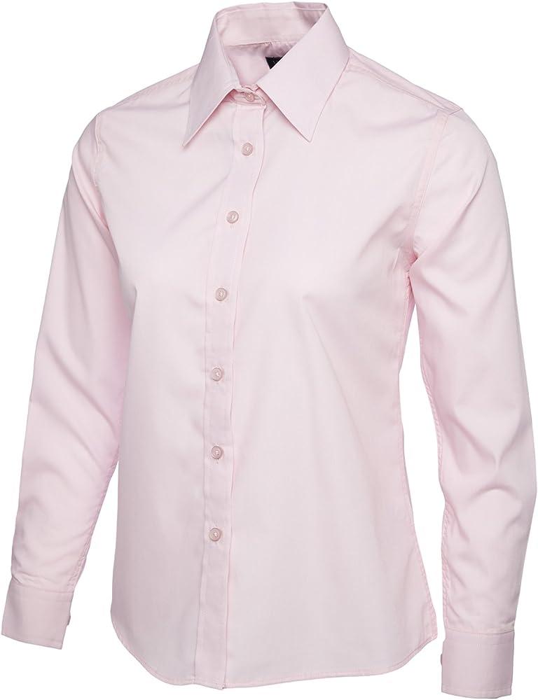 Mujer Popelina Camisa De Manga Larga Blusa Casual Formal Negocios Trabajo Uniforme - sintético, Rosa, 65% poliéster 35% algodón, mujer, Medium: Amazon.es: Ropa y accesorios