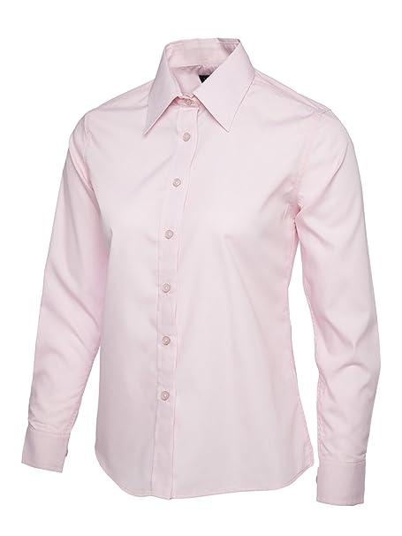 Mujer Popelina Camisa De Manga Larga Blusa Casual Formal Negocios Trabajo Uniforme - sintético, Rosa