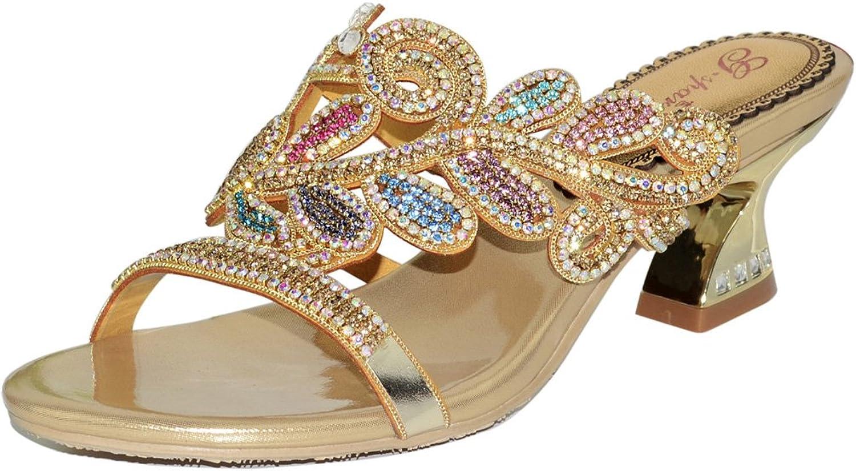 Abby Womens Nice Wedding Party Show Work Rhinestone Block Heel Micro-fiber Sandals