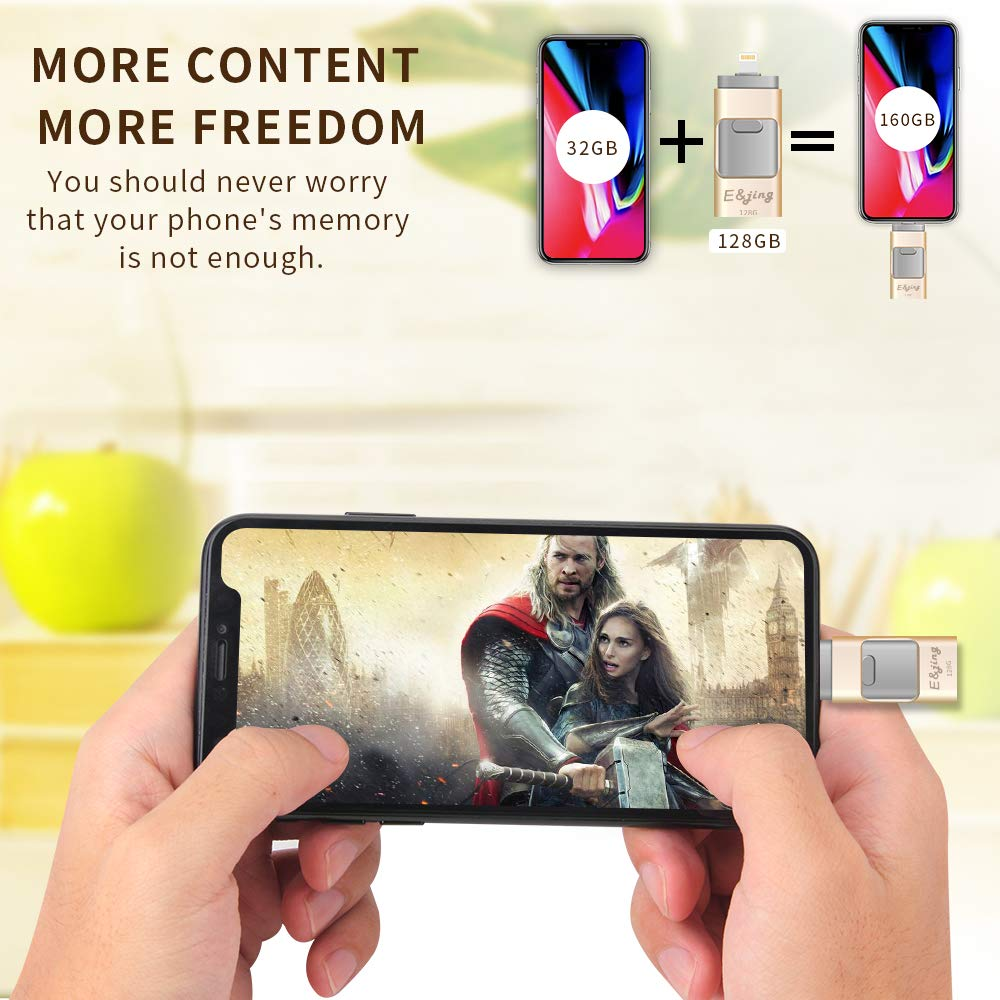 USB Flash Drive for iPhone/_ E/&jing iPhone Flash Drive 128GB iPhone External Storage USB 3.0 photostick Mobile for iPhone,Android,PC Photo iPhone Picture Stick Gold