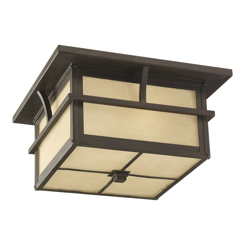 Sea Gull Lighting 78880-51 Medford Lakes Two-Light Outdoor Flush Mount Ceiling Light with Etched Hammered, Light Amber Glass Panels, Statuary Bronze Finish