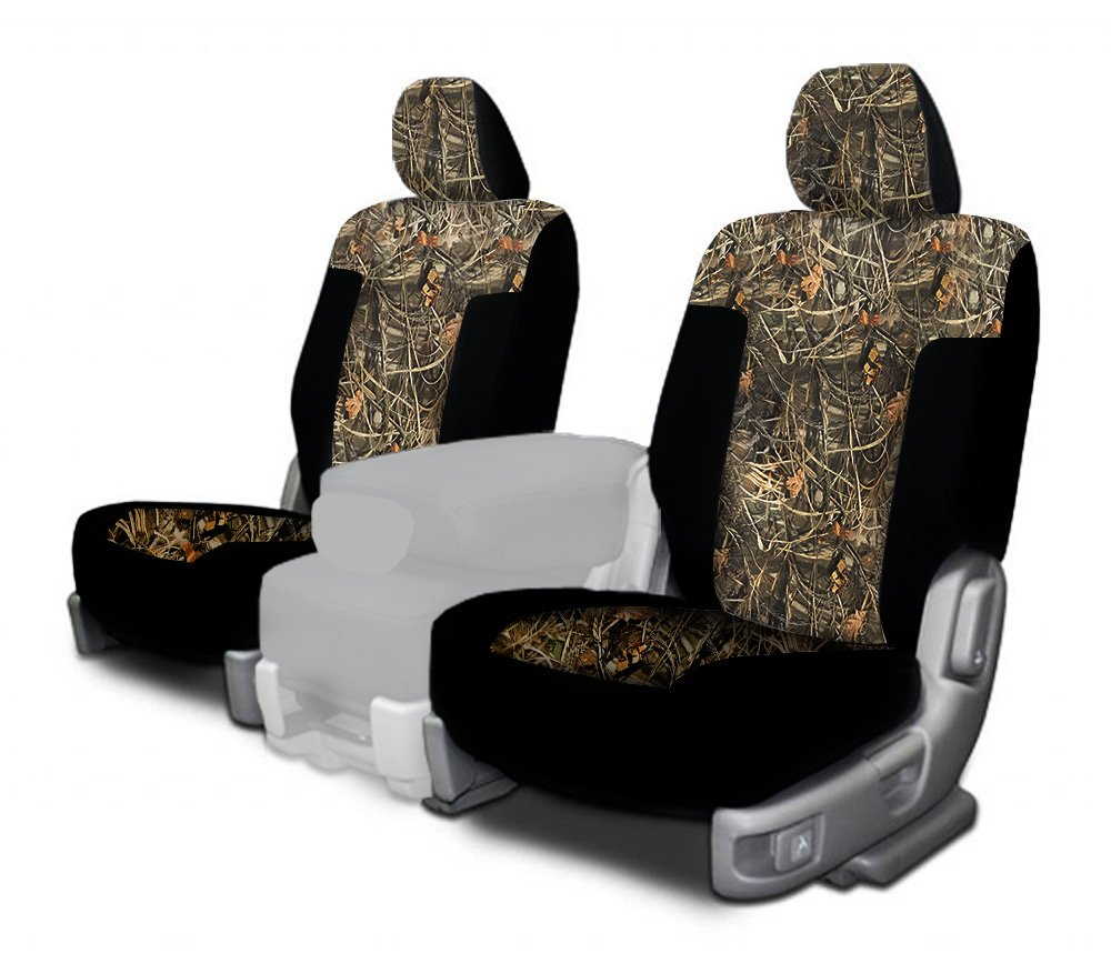 CarsCover Custom Fit 2009-2014 Ford F150 F250 F350 Pickup Truck Wetsuit Neoprene Car Front Seat Covers Camo and Black Sides Driver & Passenger Cover Real Maple Forest Tree leaf Camouflage Covers by CarsCover