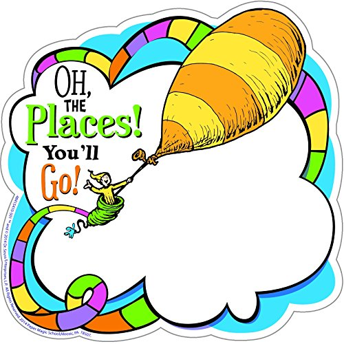 Eureka Dr. Seuss Oh The Places You'll Go! Paper Cut Outs for Schools and Classrooms, 36pc, 5.5