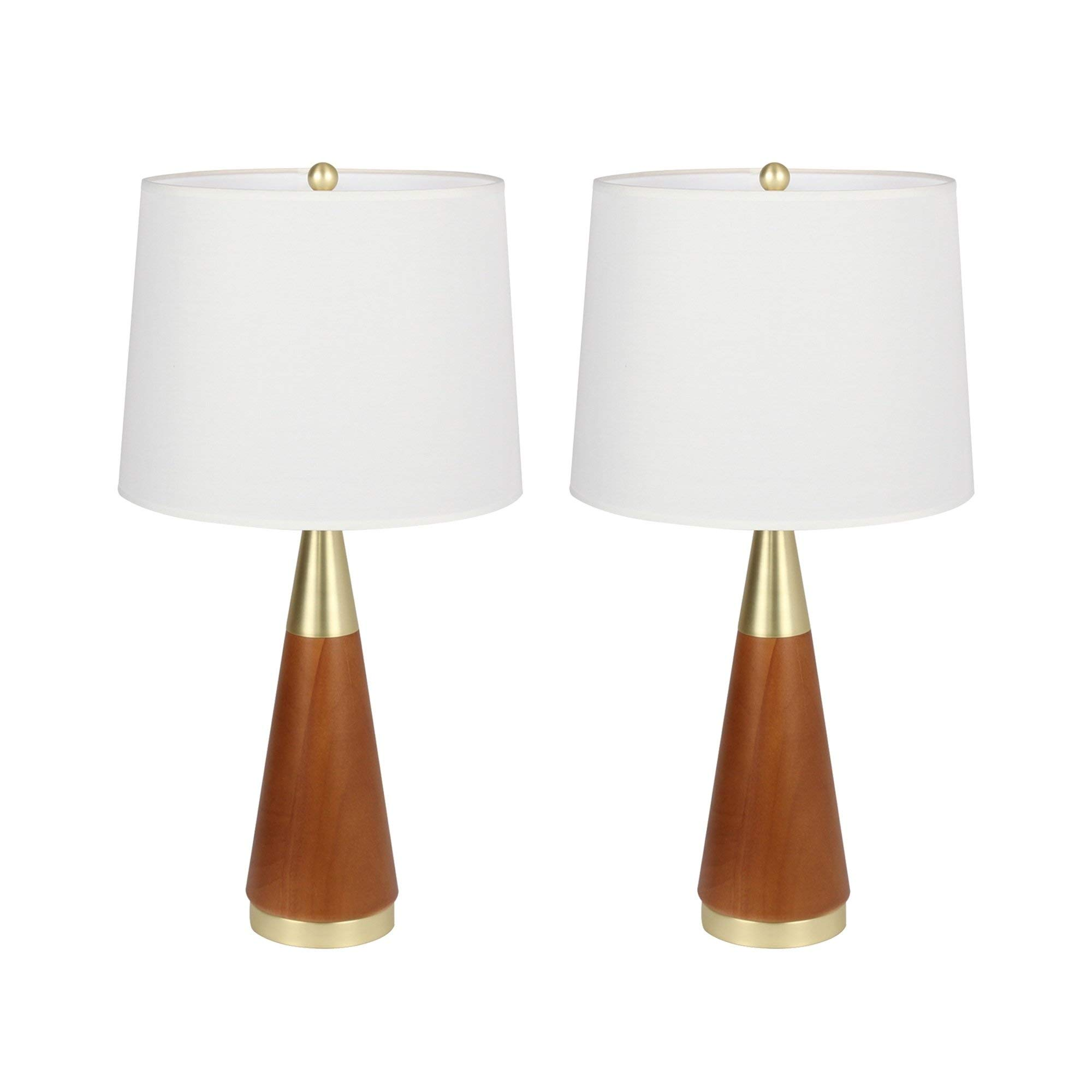 Bestsign Intl White Rubber Wood and Iron Table Lamp Set