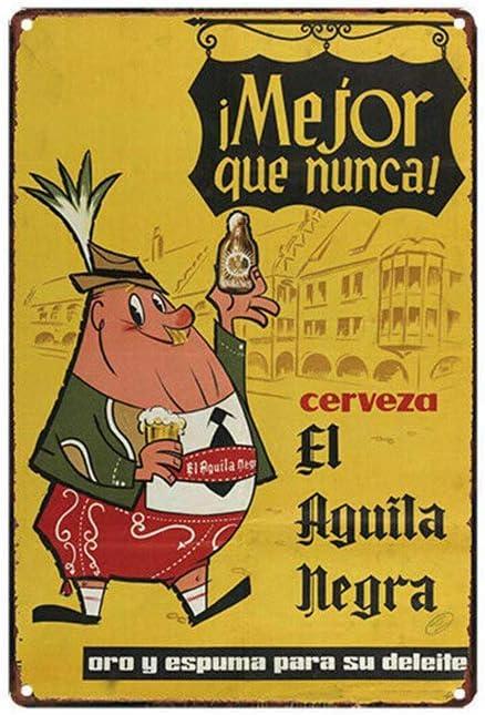 WallAdorn Cerveza El Aguila Negra - Póster de hierro para decoración de pared, diseño vintage
