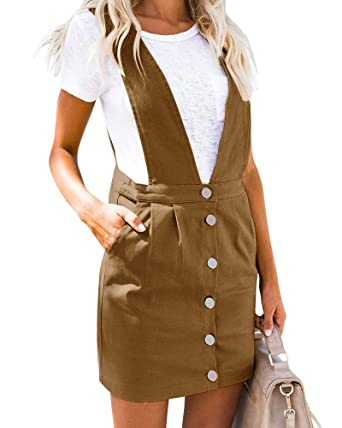 1e896ed9e Geckatte Womens Suspenders Pencil Skirts Button Front Casual Mini Overall  Dress Pockets at Amazon Women s Clothing store