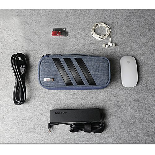 BUBM Carrying Bag for AC Adapter, Travel Organizer for Laptop Charger, Pouch Cover Case for Power Cord and Other Accessories, Blue by BUBM (Image #3)