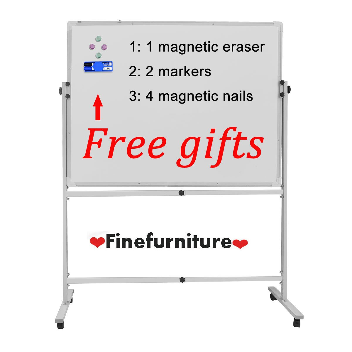 Magnetic Mobile Whiteboard with Stand, White Board with Wheels, Dry Erase Board for Office Presentation and School  (36x24)