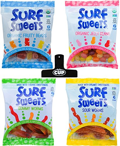 Surf Sweets Candy Variety (Pack of 4) - Organic Fruity Bears, Organic Jelly Beans, Gummy Worms, Sour Worms, 2.75 Ounce Bags - With Exclusive By The Cup Bag Clip