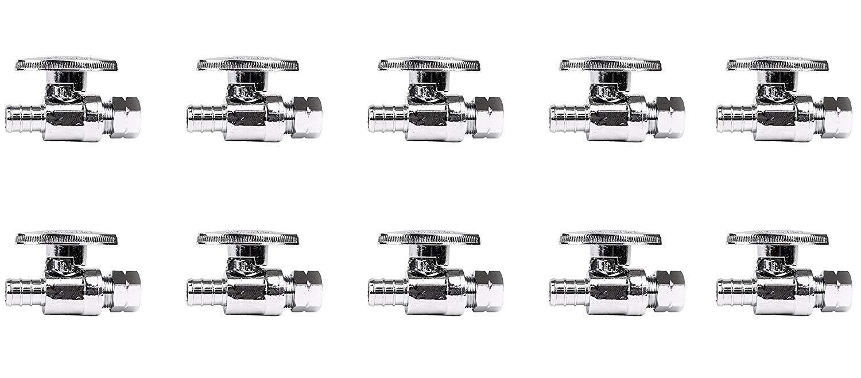1//2 x 3//8 Lead Free PEX Straight Stop Valves Brass 10 pcs