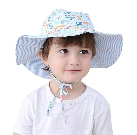b85c434a23e92 Connectyle Kids Reversible Bucket Sun Hats Large Brim UPF 50+ Sun  Protection Hat