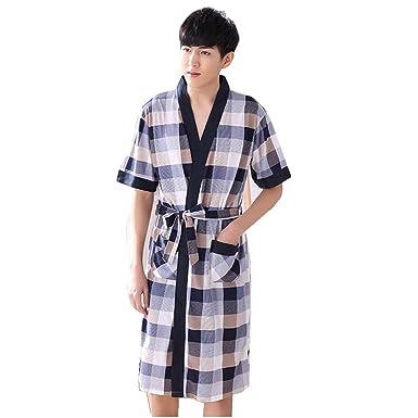 Man Plus Size Short Sleeve Cotton Bath Robe Dressing Gown Wrap ...