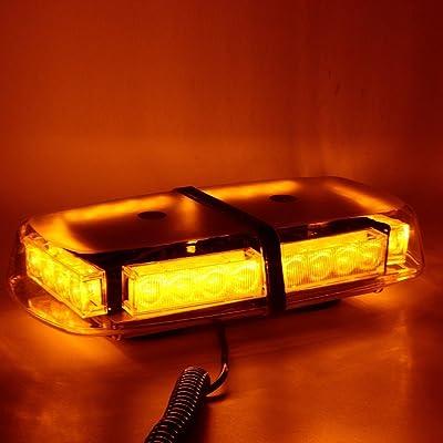 WoneNice LED Strobe Light, Amber 24 LED High Visibility Emergency Safety Warning Flashing Light Bar w/Magnetic Base &16ft Straight Cord and Cigarette Plug for 12V Trucks,Snow Plow and Vehicles: Automotive