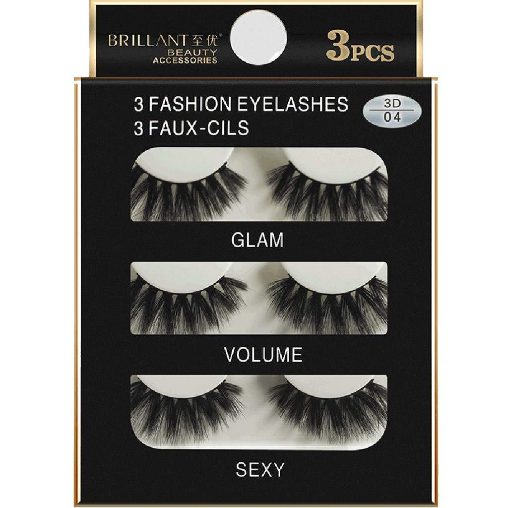 Toxz Fake Eyelashes 3 Pairs 3D Long False Eyelashes Makeup Natural Fake Thick Black Eye Lashes
