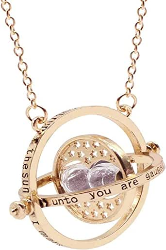 ArRord Harry Potter Time Turner Hourglass Pendant Necklace Hermione Granger Rotating Spins Gold Plated Lover's Jewelry