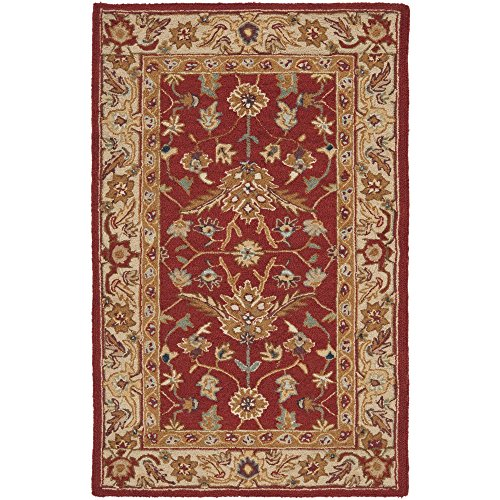 Safavieh Chelsea Collection HK751A Hand-Hooked Red and Ivory Premium Wool Area Rug (2'6
