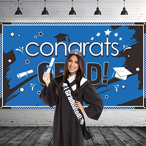 2019 Graduation Party Supplies Kit, Glittered Metal Graduation Princess Grad Crown Tiara and Black Graduated Sash and 2019 Blue Congrats Grad Banner for Graduation Party Decorations Grad Decor Favor
