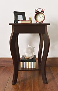 Espresso Finish Curved Legs Accent Side End Table With Bottom Shelf