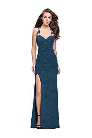 487fc6d1e13 La Femme - 25258 Plunging Strappy Back Glitter Jersey Gown at Amazon ...
