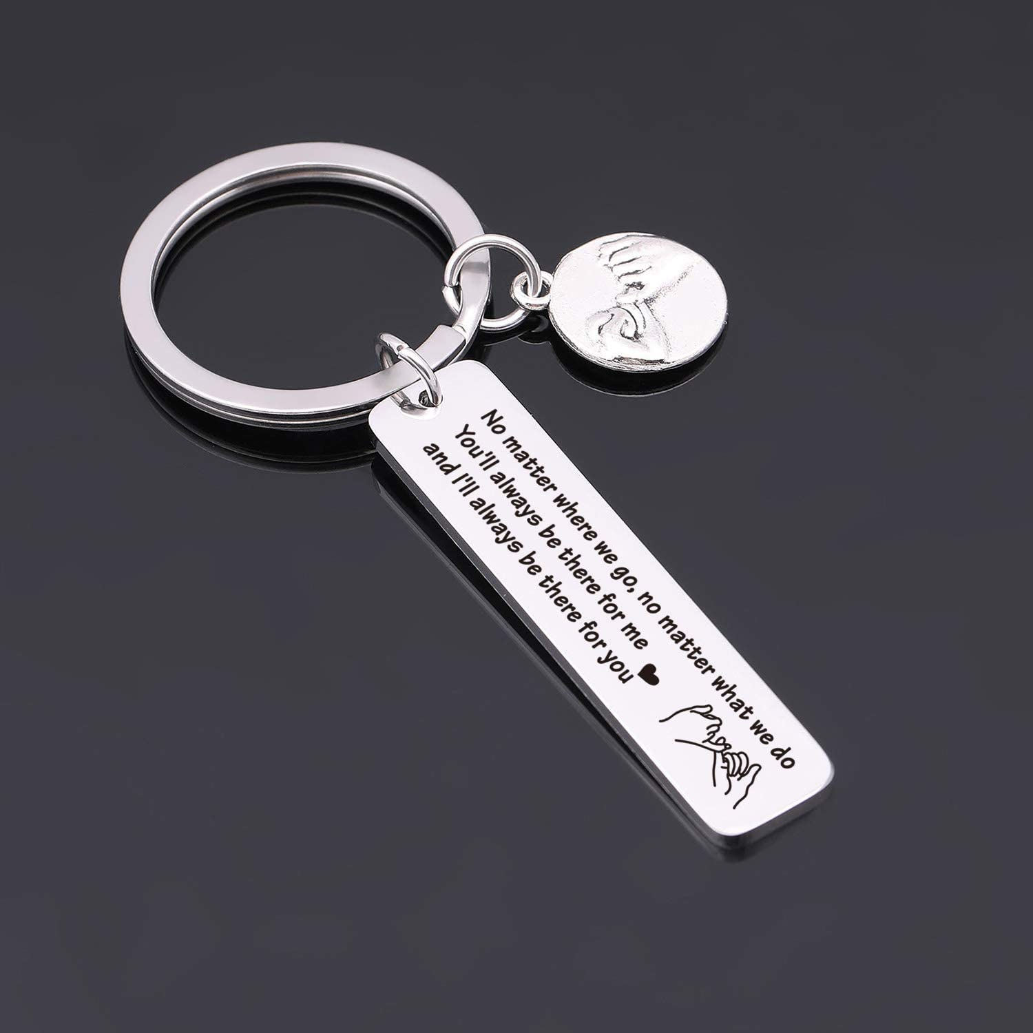 Long Distance Relationship Keychain Best Friend Gift Friendship Jewelry for Coworker Sister Cousins