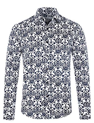 APTRO Men's Paisley Cotton Long Sleeve Casual Button Down Shirt APT1017 XXL ()
