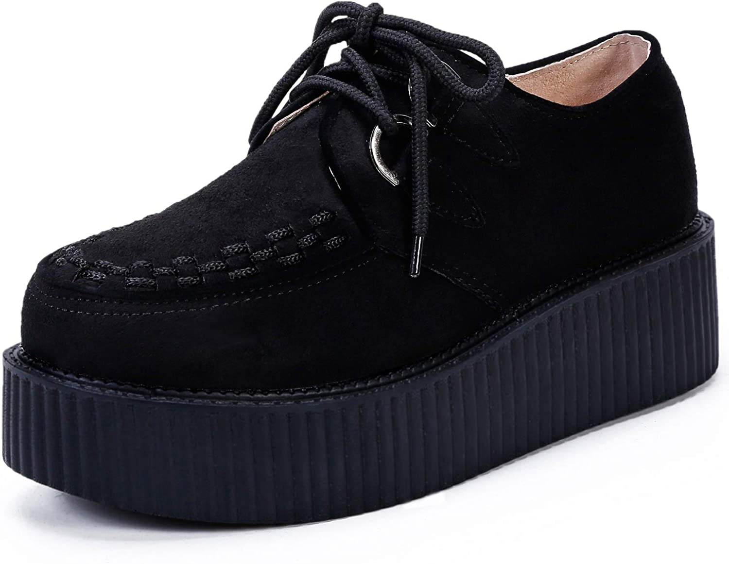 Women/'s High Platform Creepers Wedge Sneakers Lace Casual Shoes Leather x