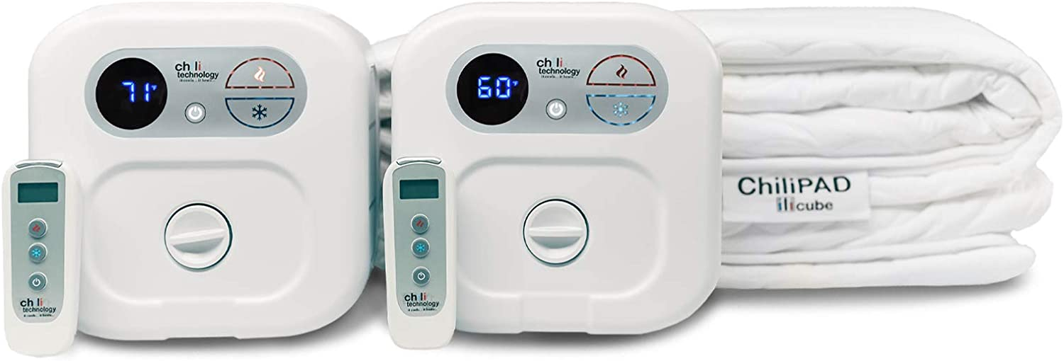 """Chili Technology chiliPAD Cube 3.0 - ME and WE Zones - Cooling and Heating Mattress Pad - Individual Temperature Control, Great Sleep Enhancement, Wireless Remote Integration (Queen (80"""" L x 60"""" W))"""
