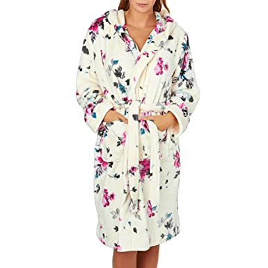 4e1556b429 Joules Rita Women s Floral Fleece Hooded Dressing Gown (Large   X Large)