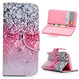 MOLLYCOOCLE iPod Touch 5 Case, iPod Touch 6 Case, Romantic Design Premium PU Leather with Magnetic Clasp Card Holders Flip Cover for iPod Touch 5th & 6th Generation - Pink and Black Gradient