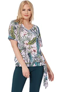 041a82fce26b Roman Originals Women Tropical Print Burnout Top - Ladies Jersey Holiday  Beach Going Out Everyday Clothing