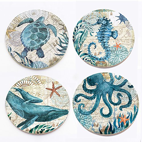 Coasters Set of 4 - Ocean art Coaster For Drinks With Vibrant Colors And Cork Backing