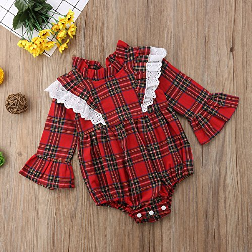 8edfa49de Toddler Infant Kid Baby Girls Lace Plaids Bodysuit Dress Sister ...